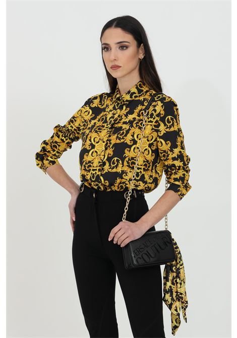 Black shirt with baroque print. Button closure and comfortable model. Brand: Versace Jeans Couture VERSACE JEANS COUTURE | Shirt | B0HWA628S0990899