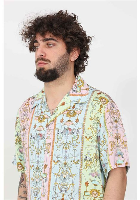 Camicia uomo azzurro multicolor versace jeans couture con bottoni VERSACE JEANS COUTURE | Camicie | B1GWA6B0S0988N86