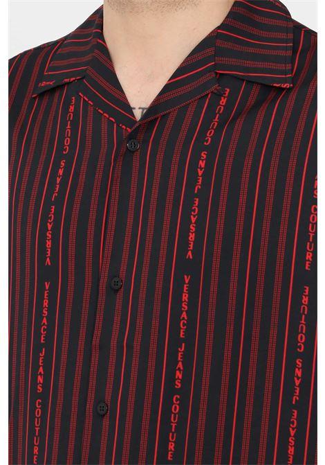 Camicia uomo nero versace jeans couture casual con bottoni VERSACE JEANS COUTURE | Camicie | B1GWA6B1S0985899