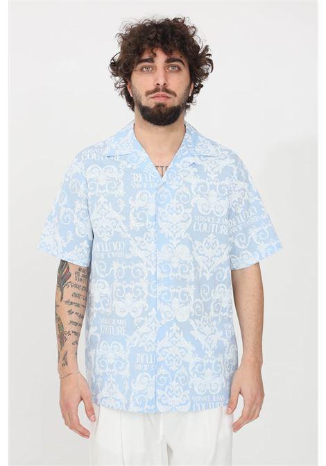 Camicia uomo azzurro a fantasia versace jeans couture casual VERSACE JEANS COUTURE | Camicie | B1GWA6B2SR085216
