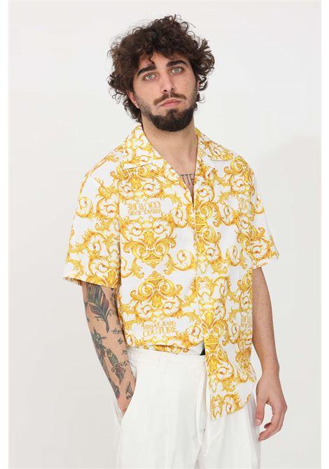 Camicia uomo bianco fantasia oro versace jeans couture casual VERSACE JEANS COUTURE | Camicie | B1GWA6B4S0152003