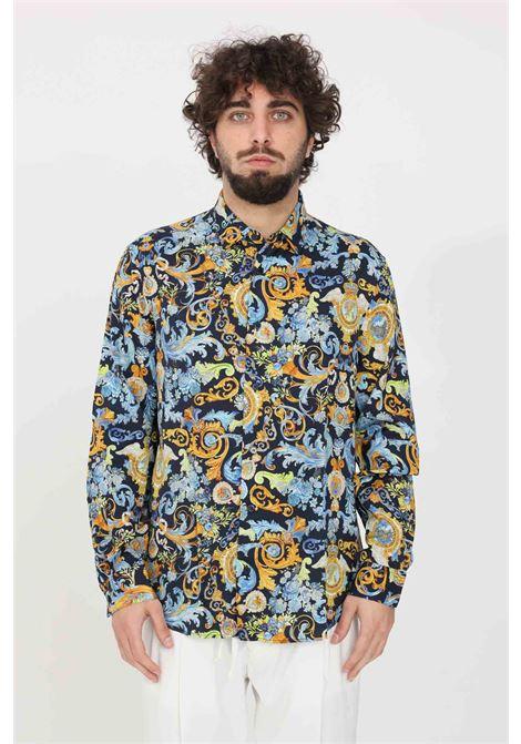 Camicia uomo fantasia blu versace jeans couture casual con bottoni e stampa barocca VERSACE JEANS COUTURE | Camicie | B1GWA6R1S0879200