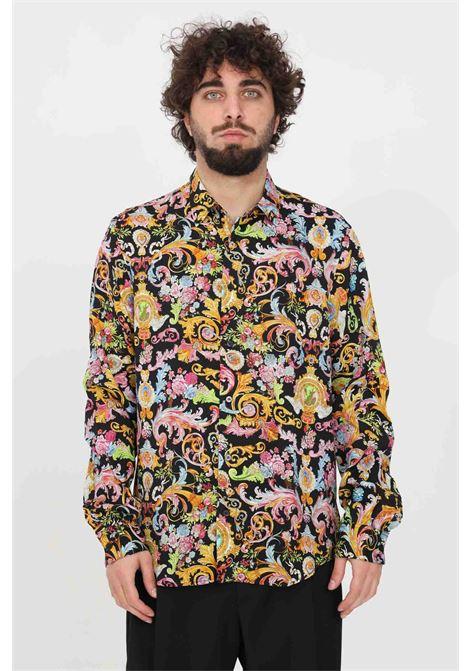 Camicia uomo fantasia nero versace jeans couture casual con bottoni VERSACE JEANS COUTURE | Camicie | B1GWA6R1S0879899