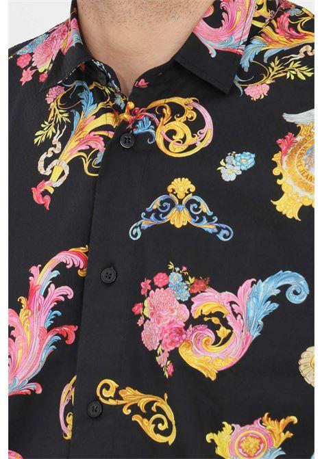 Camicia uomo fantasia nero versace jeans couture elegante VERSACE JEANS COUTURE | Camicie | B1GWA6S2SR585899