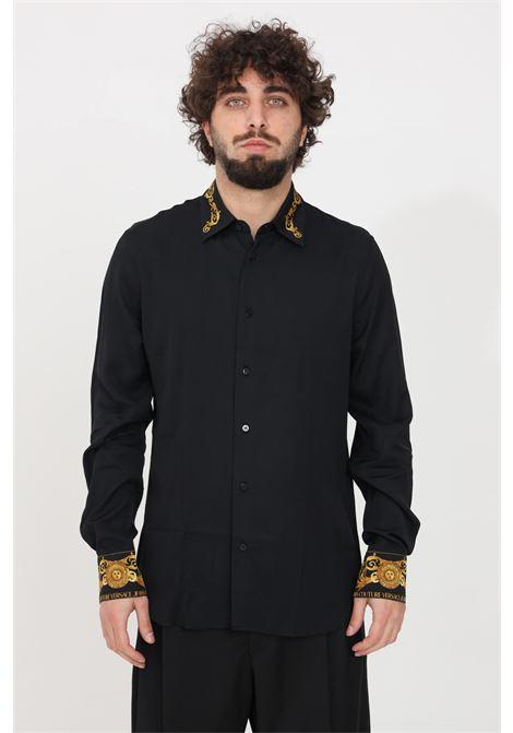 Camicia uomo nero versace jeans couture elegante VERSACE JEANS COUTURE | Camicie | B1GWA6S307619899