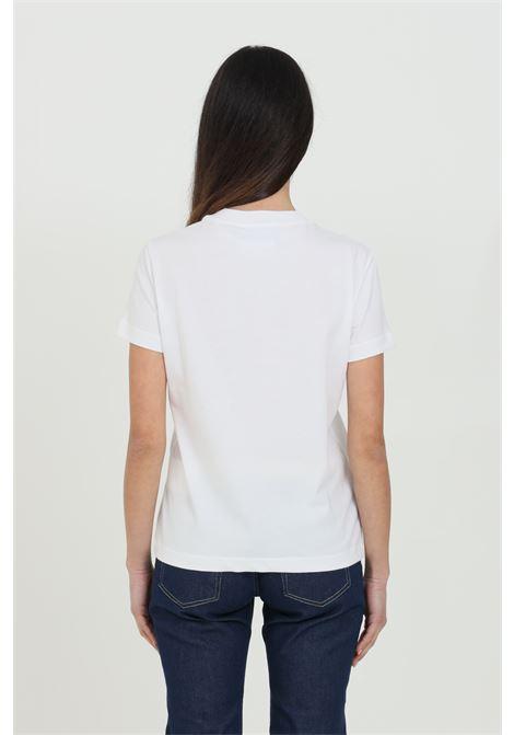 T-shirt donna bianca Versace Jeans Couture manica corta con stampa barocca e strass frontale VERSACE JEANS COUTURE   T-shirt   B2HWA72911620003