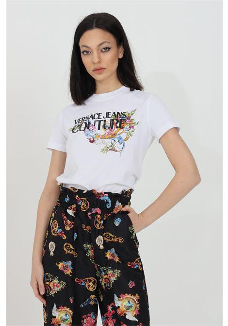 T-shirt girocollo con logo e stampa centrale, tinta unita VERSACE JEANS COUTURE | T-shirt | B2HWA7KA30457003