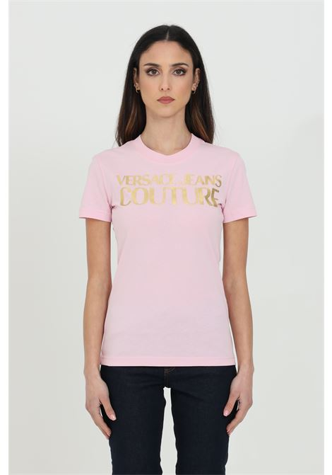 T-shirt con logo frontale oro VERSACE JEANS COUTURE | T-shirt | B2HWA7TB30319402