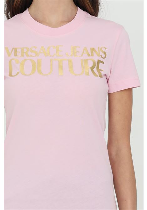 T-shirt with gold front logo VERSACE JEANS COUTURE | T-shirt | B2HWA7TB30319402