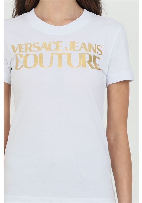 T-shirt with gold front logo VERSACE JEANS COUTURE | T-shirt | B2HWA7TB30319K41