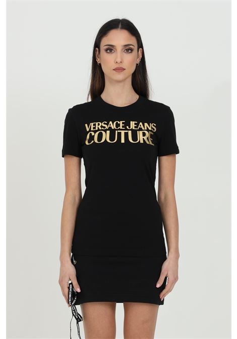 T-shirt con logo frontale oro VERSACE JEANS COUTURE | T-shirt | B2HWA7TB30319K42