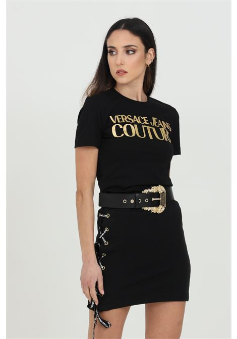T-shirt with gold front logo VERSACE JEANS COUTURE | T-shirt | B2HWA7TB30319K42