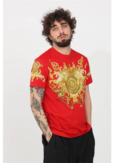 T-shirt uomo rosso fantasia versace jeans couture a manica corta VERSACE JEANS COUTURE | T-shirt | B3GWA7S1S0274514