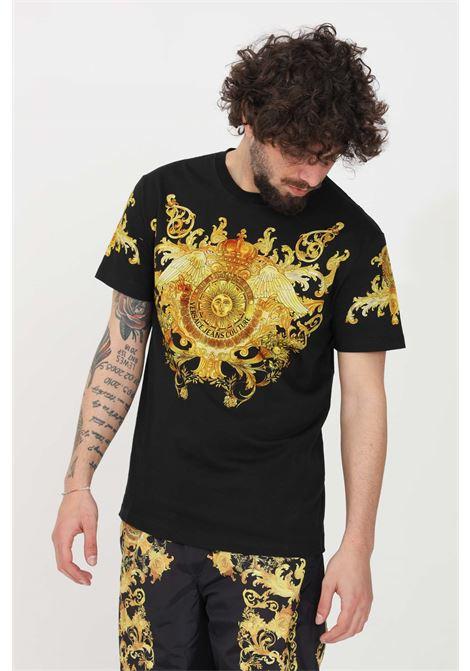 T-shirt uomo nero fantasia versace jeans couture a manica corta VERSACE JEANS COUTURE | T-shirt | B3GWA7S1S0274899