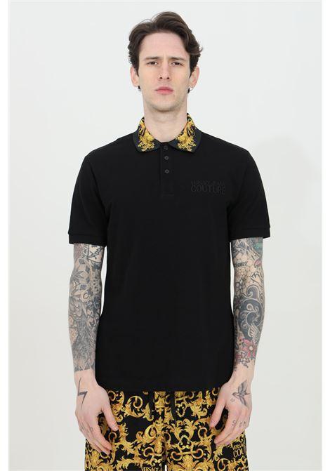 Polo uomo nera versace jeans couture con caratteristica stampa barocca VERSACE JEANS COUTURE   Polo   B3GWA7T236571K42