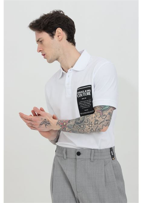 White polo shirt with logo patch on the front and distinctive collar with buttons. Brand: Versace jeans couture VERSACE JEANS COUTURE | Polo Shirt | B3GWA7T936571003