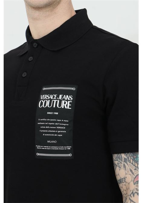 Black polo shirt with logo patch on the front and distinctive collar with buttons. Brand: Versace jeans couture VERSACE JEANS COUTURE | Polo Shirt | B3GWA7T936571899