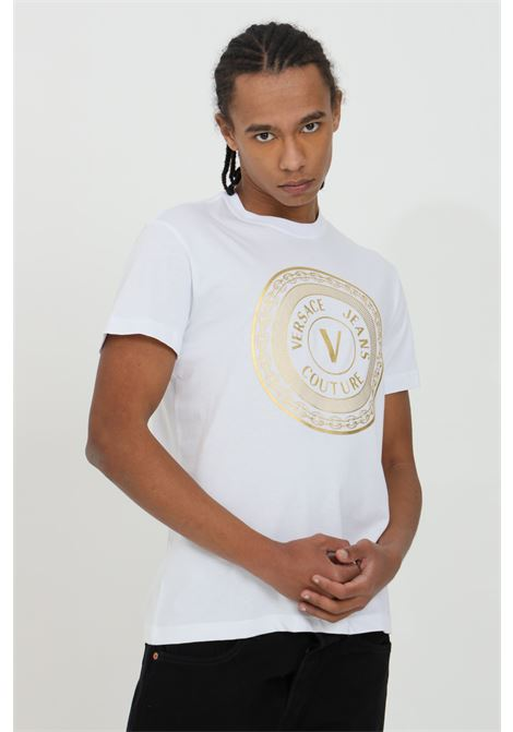 T-shirt uomo bianca versace jeans couture manica corta con maxi stampa frontale VERSACE JEANS COUTURE | T-shirt | B3GWA7TE30319k41