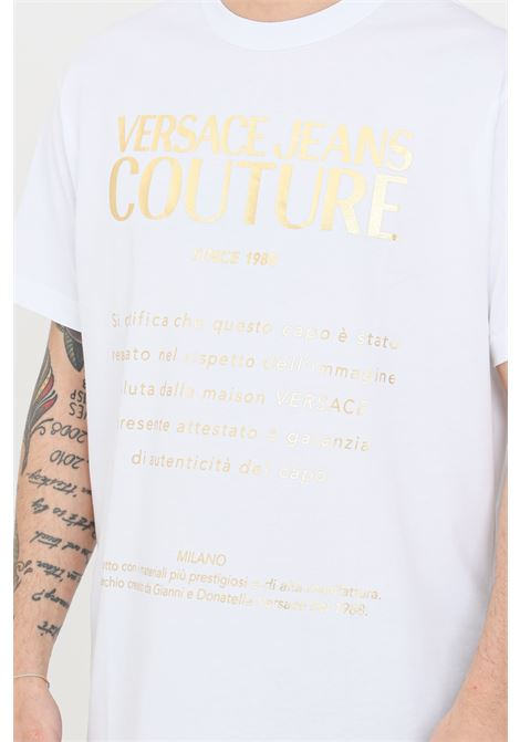 T-shirt uomo bianco versace jeans couture a manica corta VERSACE JEANS COUTURE | T-shirt | B3GWA7VT30319K41