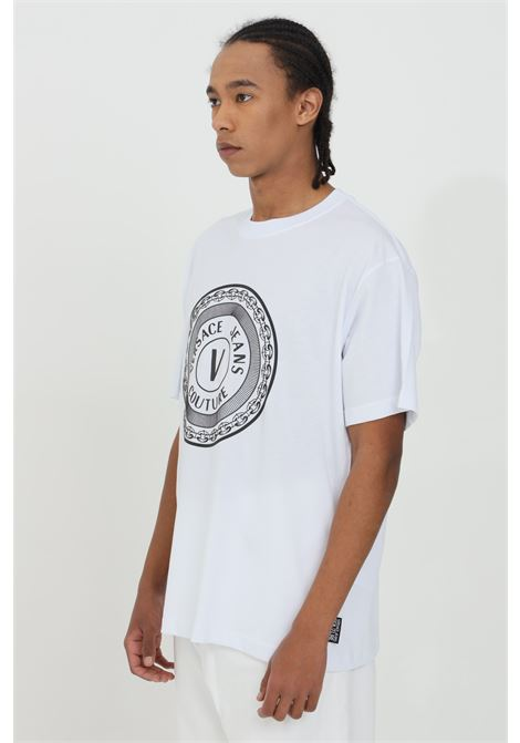 T-shirt uomo bianca versace jeans couture manica corta con stampa serigrafica frontale VERSACE JEANS COUTURE | T-shirt | B3GZA7TJ30319003