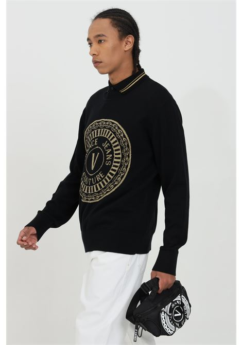 Crew neck sweater with metal fiber logo VERSACE JEANS COUTURE | Knitwear | B5GWA81250650O13