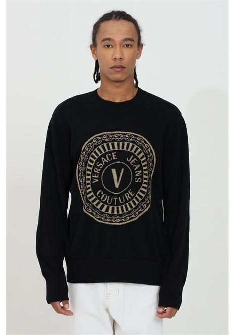 Maglioncino uomo nera versace jeans couture girocollo con logo in fibra metallica VERSACE JEANS COUTURE | Maglieria | B5GWA81250650O13