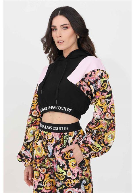 Felpa donna nero versace jeans couture con cappuccio e lacci VERSACE JEANS COUTURE | Felpe | B6HWA767S0153899