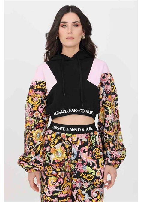 Felpa donna nero versace jeans couture con cappuccio e lacci VERSACE JEANS COUTURE   Felpe   B6HWA767S0153899