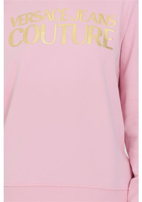 Pink hoodie with laces and maxi gold logo on the front. Brand: Versace jeans couture VERSACE JEANS COUTURE | Sweatshirt | B6HWA7TP30318402