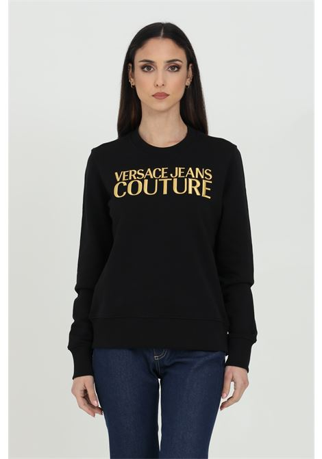 Felpa donna nera versace jeans couture girocollo con logo ricamato frontale in oro VERSACE JEANS COUTURE | Felpe | B6HWA7TS30318K42