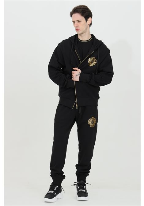 Black hoodie with full-length zip and gold logo on the front versace jeans couture VERSACE JEANS COUTURE | Sweatshirt | B7GWA72F30453K42