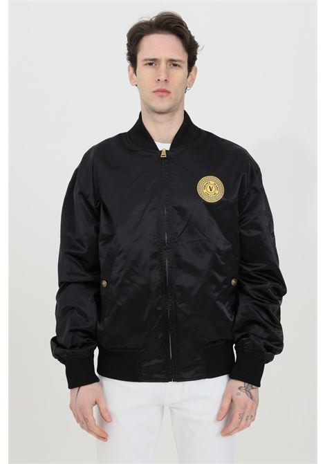 Giubbotto uomo nero versace jeans couture bomber reversibile in nero con stampa barocca, chiusura con zip e bottoni logati VERSACE JEANS COUTURE | Giubbotti | C1GWA9A725187899
