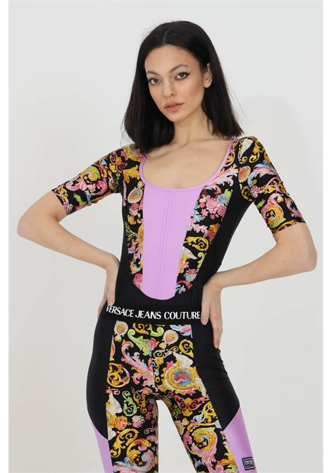 Black body with baroque print and 3/4 sleeves. Brand: Versace jeans couture VERSACE JEANS COUTURE | Body | D4HWA600S0096899
