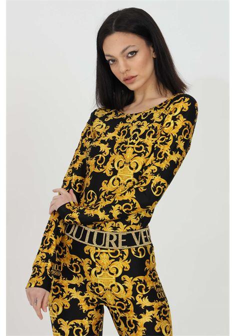 Body donna nero-oro versace jeans couture casual manica lunga con profondo scollo sul retro. Stampa pattern barocca VERSACE JEANS COUTURE | Body | D4HWA606S0125899