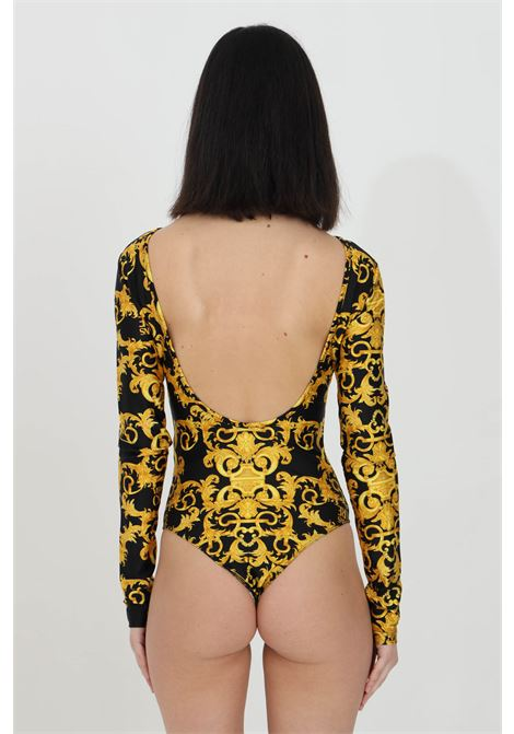 Black-gold body with plunge back and baroque print. Brand: Versace jeans couture VERSACE JEANS COUTURE | Body | D4HWA606S0125899