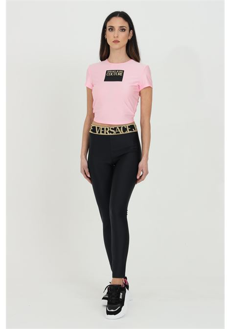Black leggings with elastic waistband with logo and glitter. Brand: Versace jeans couture VERSACE JEANS COUTURE | Leggings | D5HWA10104745899