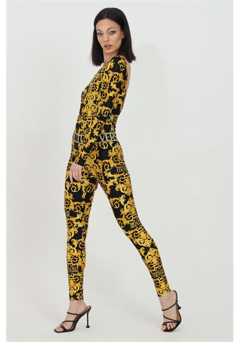 Fantasy leggings with baroque print and elastic band with glitter logo. Brand: Versace jeans couture VERSACE JEANS COUTURE | Leggings | D5HWA101S0125899