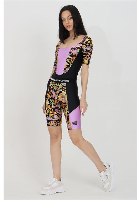 Shorts donna fantasia versace jeans couture con stampa barocca e fascia elastica in vita logata VERSACE JEANS COUTURE | Shorts | D5HWA162S0096899