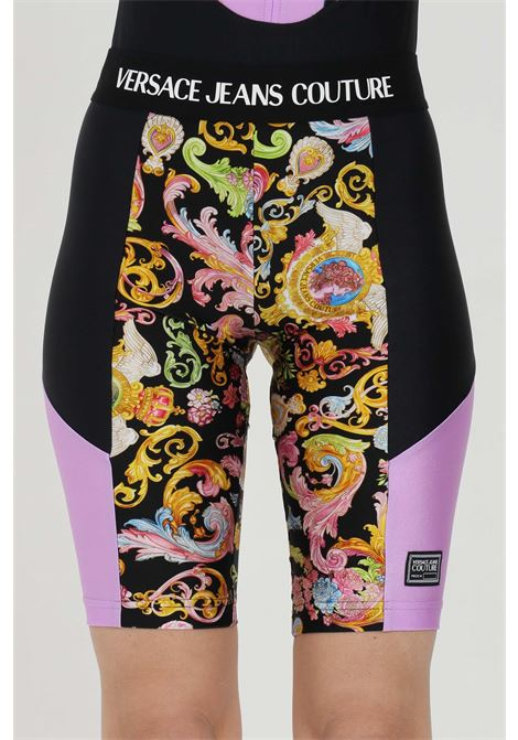 Fantasy shorts with baroque print and elastic waistband with logo. Brand: Versace jeans couture VERSACE JEANS COUTURE | Shorts | D5HWA162S0096899