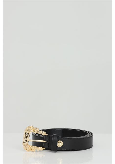 Black belt with light gold buckle. Brand: Versace jeans couture VERSACE JEANS COUTURE | Belt | D8VWAF0171627899