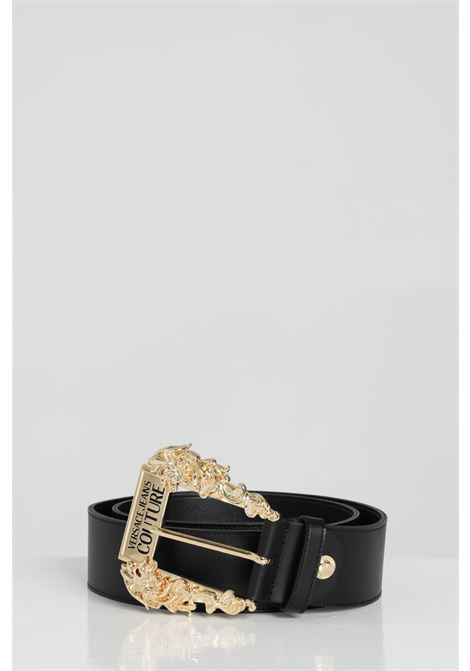 Balck belt with hammered fabric and maxi gold buckles. Brand: Versace jeans couture VERSACE JEANS COUTURE | Belt | D8VWAF0271627899