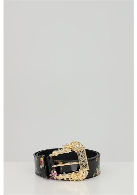 Patterned belt with maxi light gold buckle. Brand: Versace jeans couture VERSACE JEANS COUTURE | Belt | D8VWAF0271877M09M09
