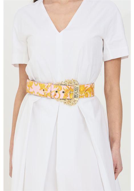 Cintura donna rosa fantasia versace jeans couture con maxi fibbia in oro light VERSACE JEANS COUTURE | Cinture | D8VWAF0271880O33