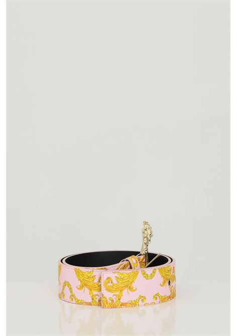 Patterned belt with maxi light gold buckle. Brand: Versace jeans couture VERSACE JEANS COUTURE | Belt | D8VWAF0271880O33
