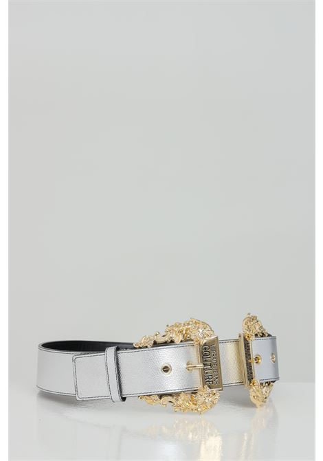 Silver belt with maxi light gold buckle. Brand: Versace jeans couture VERSACE JEANS COUTURE | Belt | D8VWAF1872010900