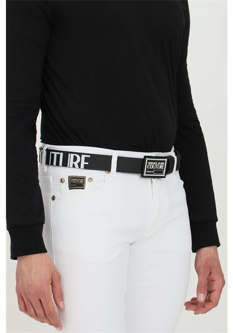 Cintura uomo nera versace jeans couture in pelle con fibbia logata VERSACE JEANS COUTURE | Cinture | D8YWAF2171993899