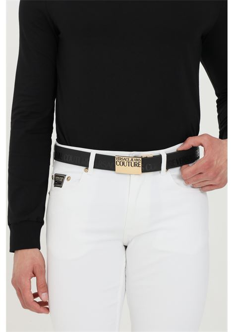 Black belt with gold buckle with logo. Brand: Versace jeans couture VERSACE JEANS COUTURE | Belt | D8YWAF3271989899
