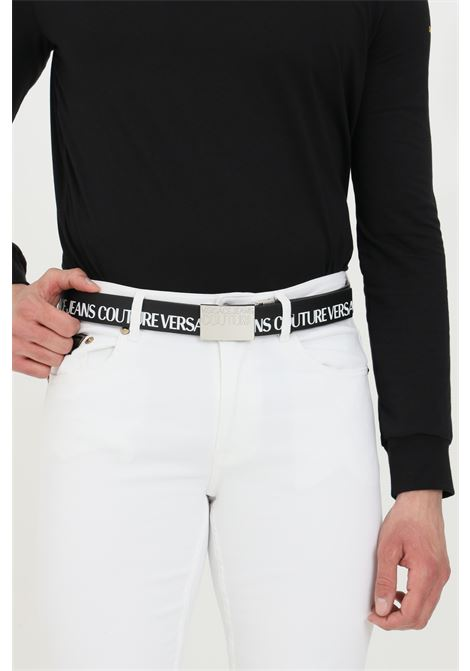 Black belt with logo print and silver steel buckle. Brand: Versace jeans couture VERSACE JEANS COUTURE | Belt | D8YWAF3271990899