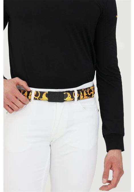 Cintura uomo nera versace jeans couture con stampa barocca VERSACE JEANS COUTURE | Cinture | D8YWAF3271991M27
