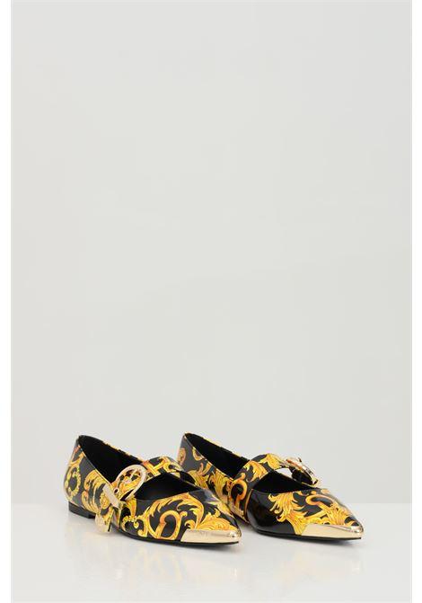 Ballerine donna fantasia nero-oro con stampa barocca allover VERSACE JEANS COUTURE | Party Shoes | E0VWAS2171982M27